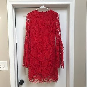 Dresses & Skirts - Red, bell sleeve lace dress, size L.